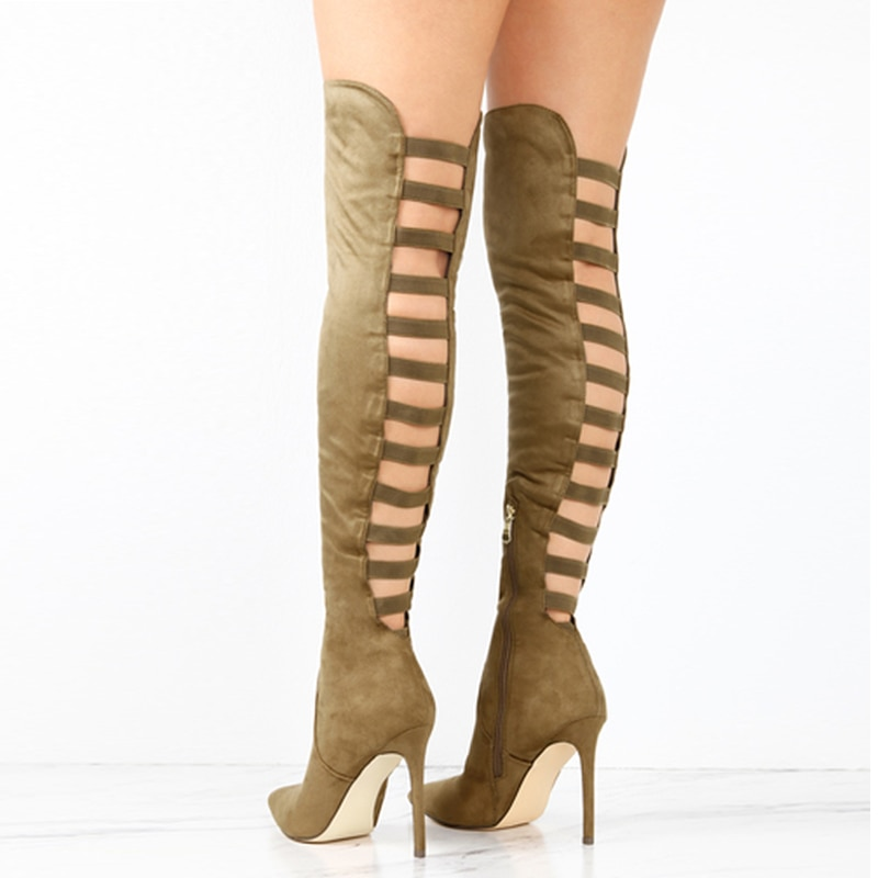 Sexy Black Women's Long Boots Women Autumn Heels Shoes Over The Knee Thin High Heel Pointed Toe Boots Woman Stretch Boot 10cm