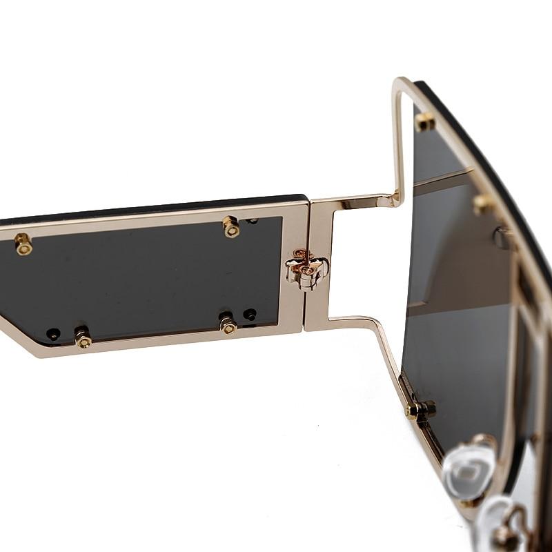 Fashion Square Sunglasses Women New Oversized Mirror Men Shades Glasses Luxury Brand Metal Rivet Trend Unique Female Eyewear