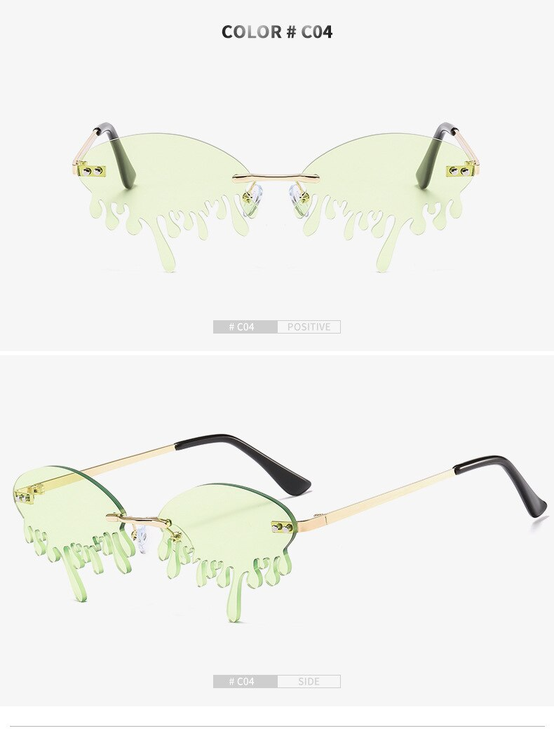 Hot sale Fashion Water drop Sunglasses Women Rimless Wave Punk Sun Glasses Luxury Trending Sunglasses Streetwear Gafas Shades